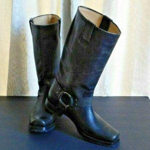 Frye Harness Gray Black Moto Biker Boots Size 9.5